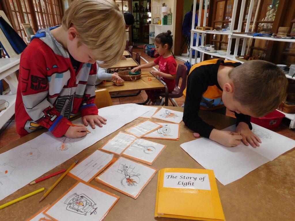 Kindergarteners at Montessori Center School refining their learning skills