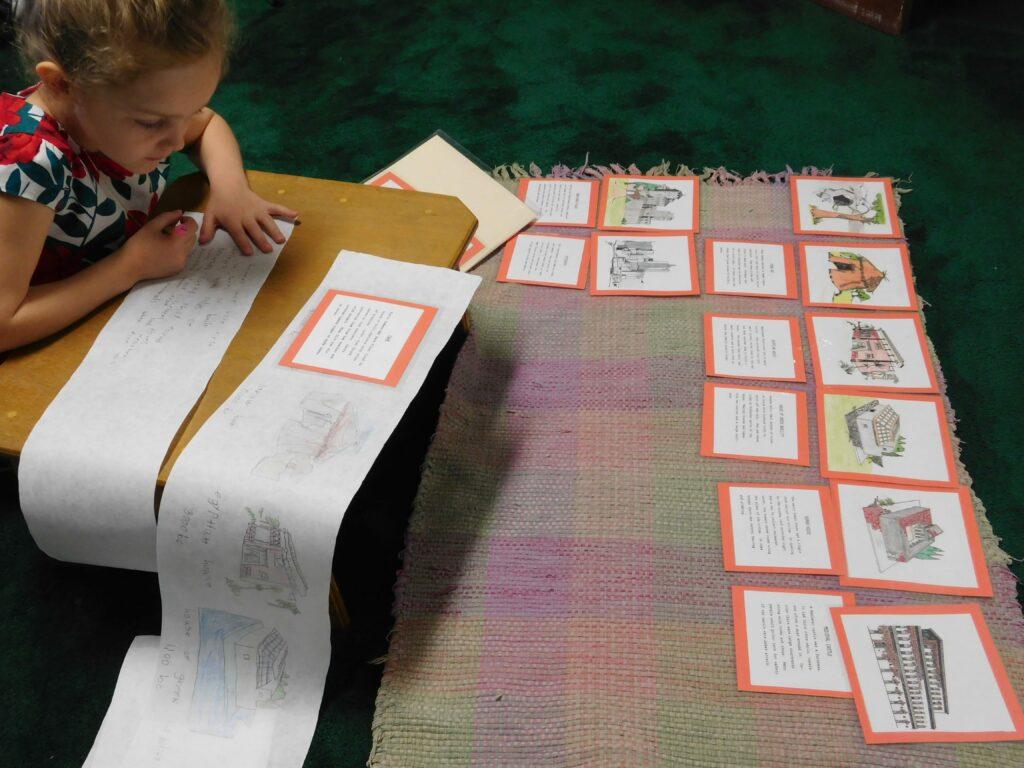 Kindergartener in third year in Montessori working independently