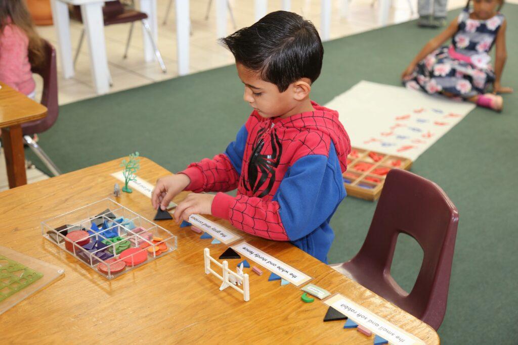 Montessori student pursuing individualized learning