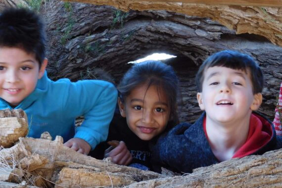 Children at Montessori Center School enjoying nature-based learning