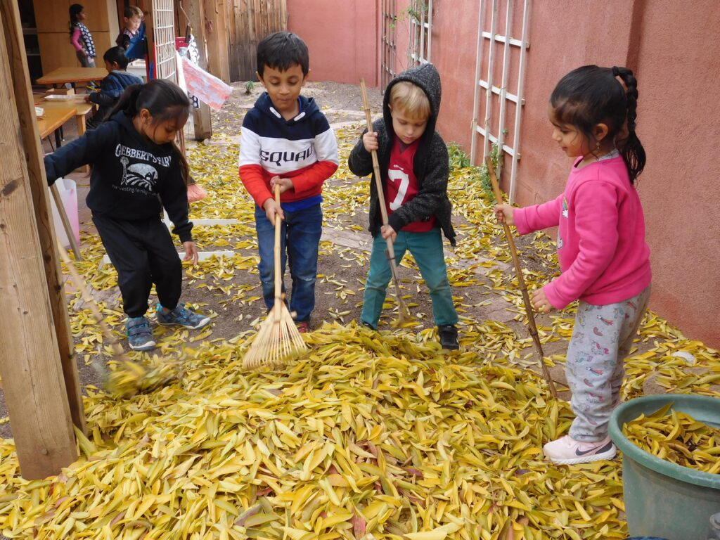 Practical life skills incorporated in outdoor learning in Montessori