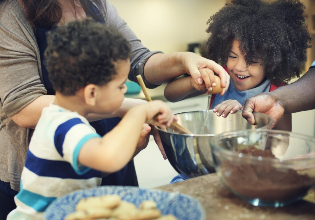 Children baking as part of Montessori at home
