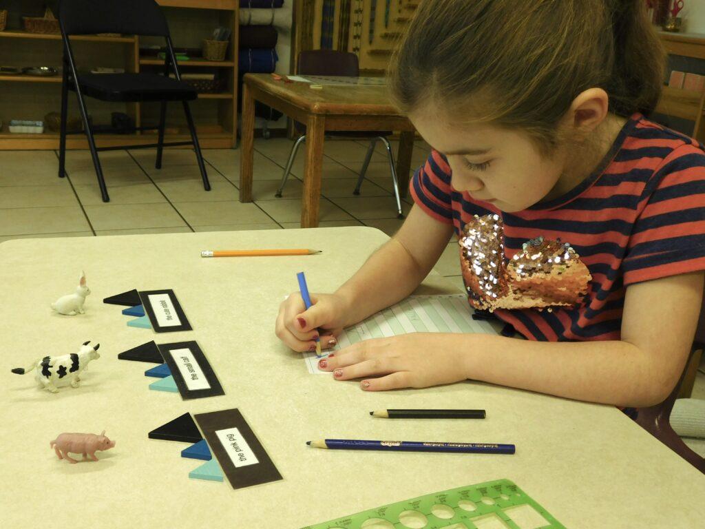 Student at a Montessori preschool taking notes